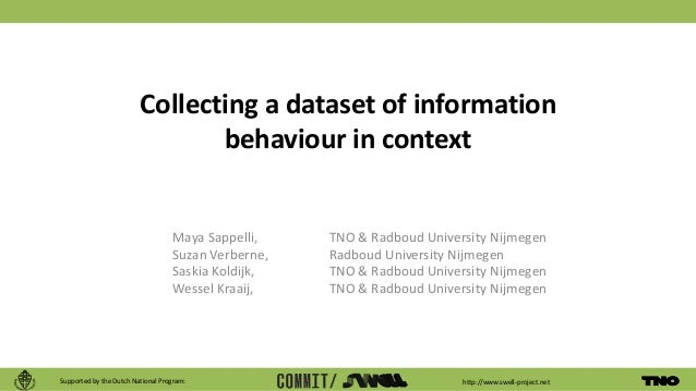 http://www.swell-project.net Collecting a dataset of information behaviour in context Maya Sappelli, TNO & Radboud Univers...