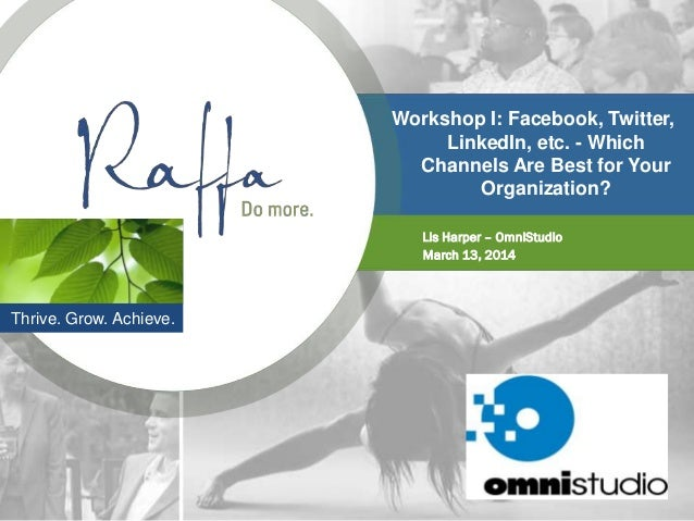 Workshop I: Facebook, Twitter, LinkedIn, etc. - Which Channels Are Best for Your Organization? Lis Harper – OmniStudio Mar...