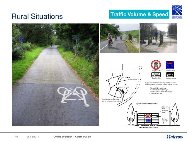 26/03/201449 Cycling by Design 2010 Introduction 1. Planning for Cyclists 2. Geometric Design 3. Traffic Volume & Speed 4....
