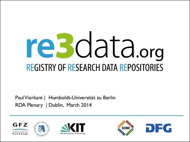 PaulVierkant | Humboldt-Universität zu Berlin RDA Plenary | Dublin, March 2014