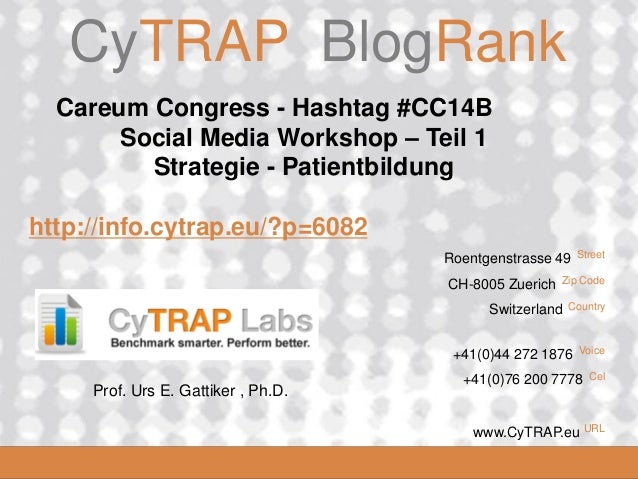 CyTRAP.eu  CyTRAP BlogRank  Careum Congress - Hashtag #CC14B Social Media Workshop – Teil 1 Strategie - Patientbildung  ht...