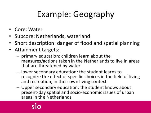 Example: Geography • Core: Water • Subcore: Netherlands, waterland • Short description: danger of flood and spatial planni...
