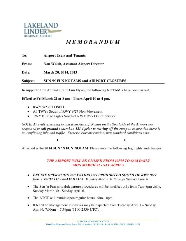 M E M O R A N D U M To: Airport Users and Tenants From: Nan Walsh, Assistant Airport Director Date: March 20, 2014, 2013 S...