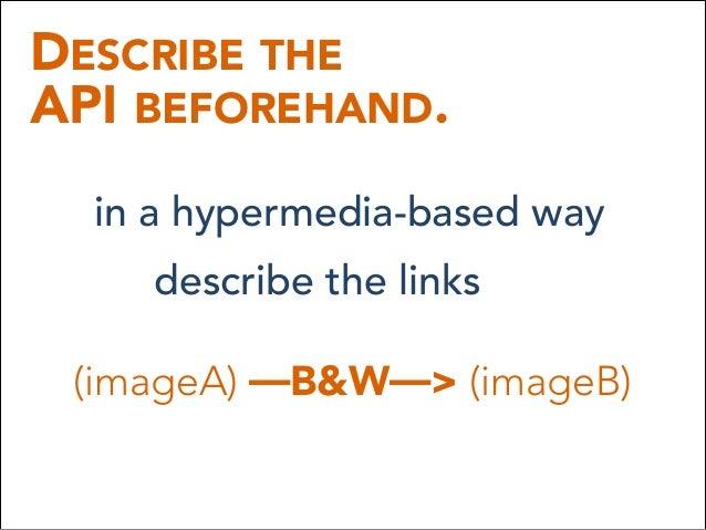 DESCRIBE THE API BEFOREHAND. in a hypermedia-based way describe the links (imageA) —B&W—> (imageB)