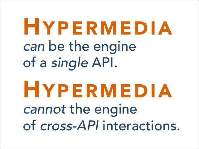 HYPERMEDIA can be the engine of a single API. HYPERMEDIA cannot the engine of cross-API interactions.