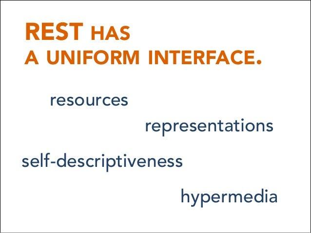 REST HAS A UNIFORM INTERFACE. resources representations self-descriptiveness hypermedia
