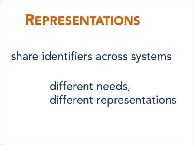REPRESENTATIONS share identifiers across systems different needs, different representations