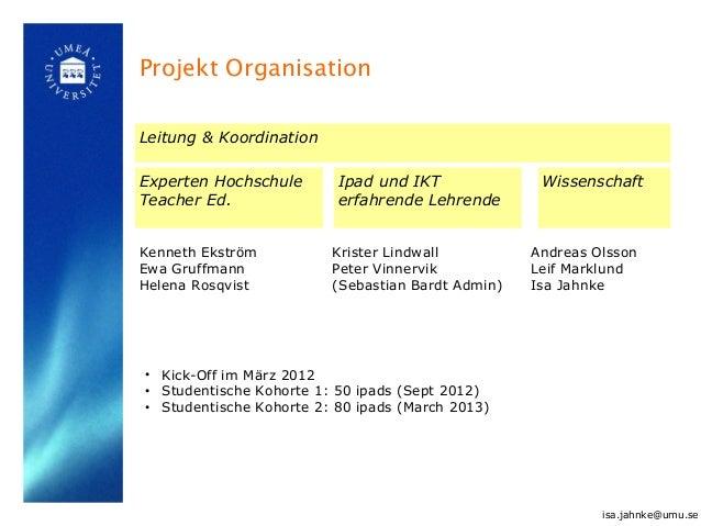 Projekt Organisation Leitung & Koordination Experten Hochschule Teacher Ed. Ipad und IKT erfahrende Lehrende Wissenschaft ...