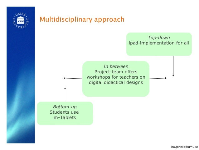 Multidisciplinary approach Bottom-up Students use m-Tablets In between Project-team offers workshops for teachers on digit...