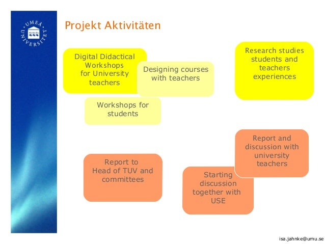 Projekt Aktivitäten Report to Head of TUV and committees Digital Didactical Workshops for University teachers Research stu...