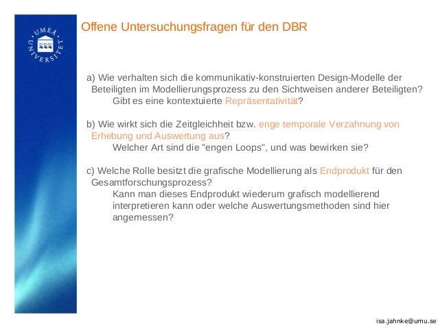 Offene Untersuchungsfragen für den DBR a) Wie verhalten sich die kommunikativ-konstruierten Design-Modelle der Beteiligten...