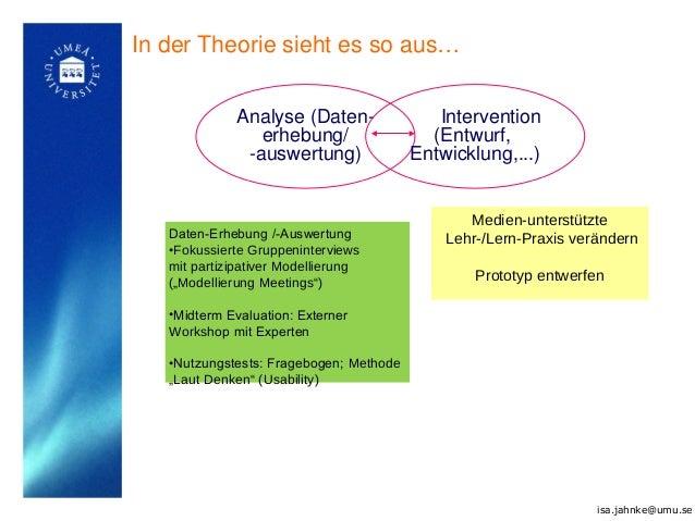 Analyse (Daten- erhebung/ -auswertung) Intervention (Entwurf, Entwicklung,...) Daten-Erhebung /-Auswertung •Fokussierte Gr...