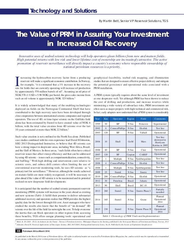 TGS Reservoir-Petroleum Africa - The value of PRM  Slide 2