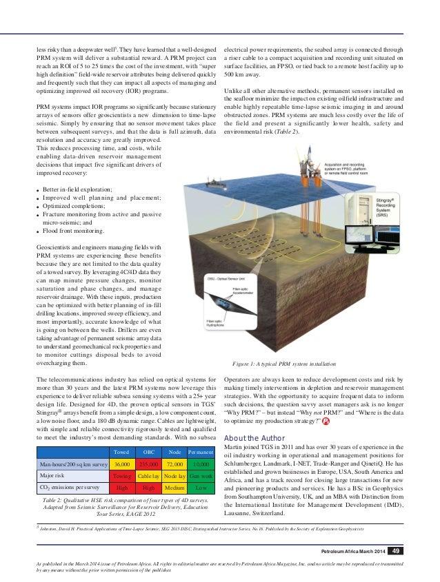 TGS Reservoir-Petroleum Africa - The value of PRM  Slide 3