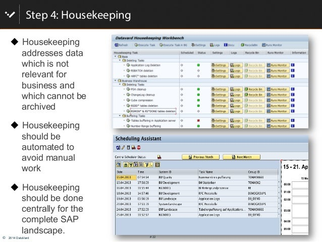 © 2014 DataVard # 22 Step 4: Housekeeping ! Housekeeping addresses data which is not relevant for business and which can...