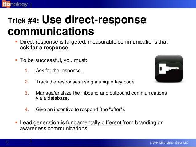 © 2013 Mike Moran Group LLC © 2014 Mike Moran Group LLC 13 Trick #4: Use direct-response communications  Direct response ...