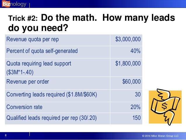 © 2013 Mike Moran Group LLC © 2014 Mike Moran Group LLC Trick #2: Do the math. How many leads do you need? Revenue quota p...