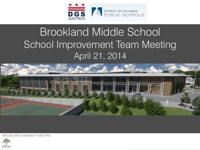 BROOKLAND COMMUNITY MEETING – MARCH 23, 2013 Brookland Middle School School Improvement Team Meeting April 21, 2014