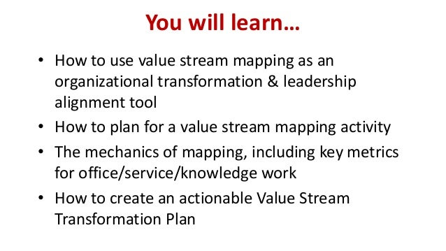You will learn…  •How to use value stream mapping as an organizational transformation & leadership alignment tool  •How to...