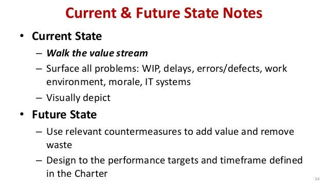 Current & Future State Notes  34  •Current State  –Walk the value stream  –Surface all problems: WIP, delays, errors/defec...