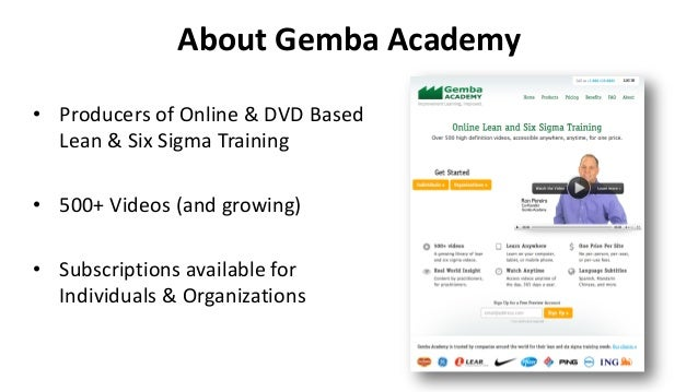 About Gemba Academy • Producers of Online & DVD Based Lean & Six Sigma Training • 500+ Videos (and growing) • Subscription...