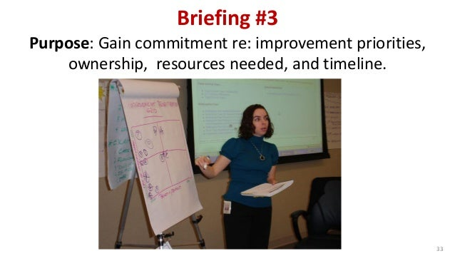 Briefing #3 33 Purpose: Gain commitment re: improvement priorities, ownership, resources needed, and timeline.