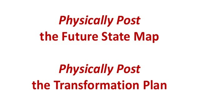Physically Post the Future State Map Physically Post the Transformation Plan