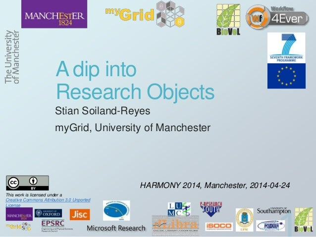 A dip into Research Objects Stian Soiland-Reyes myGrid, University of Manchester HARMONY 2014, Manchester, 2014-04-24 This...