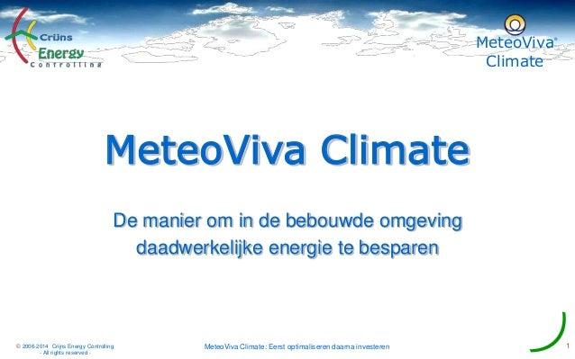 MeteoViva Climate ® MeteoViva Climate: Eerst optimaliseren daarna investeren 1© 2006-2014 Crijns Energy Controlling - All ...