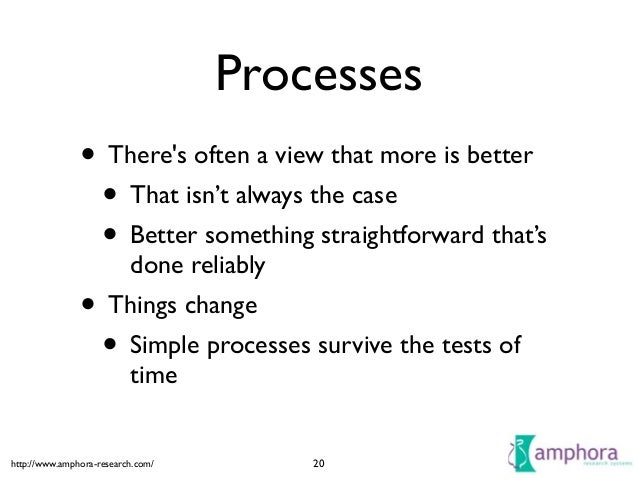 http://www.amphora-research.com/ Processes • There's often a view that more is better  • That isn't always the case  • B...
