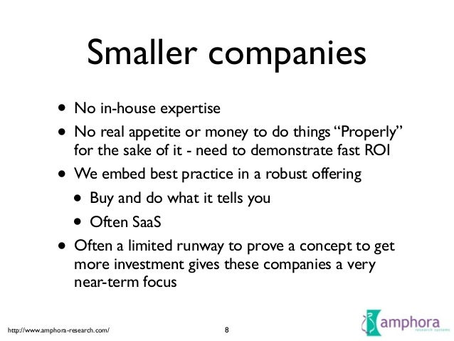 """http://www.amphora-research.com/ Smaller companies • No in-house expertise  • No real appetite or money to do things """"Pro..."""