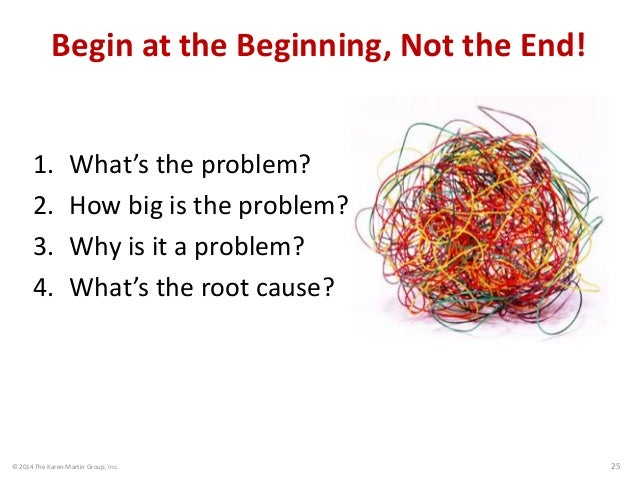 © 2014 The Karen Martin Group, Inc. 25 Begin at the Beginning, Not the End! 1. What's the problem? 2. How big is the probl...