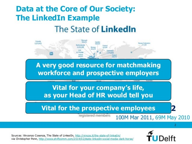 Data at the Core of Our Society: The LinkedIn Example 2 Feb 2012 100M Mar 2011, 69M May 2010 Sources: Vincenzo Cosenza, Th...