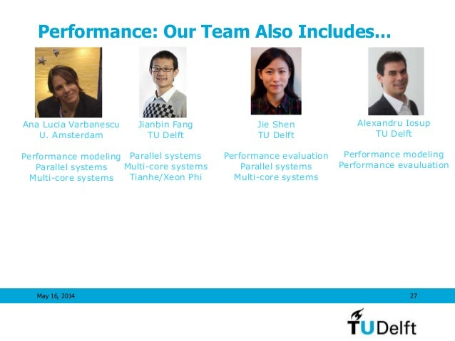 Performance: Our Team Also Includes... May 16, 2014 27 Alexandru Iosup TU Delft Performance modeling Performance evauluati...
