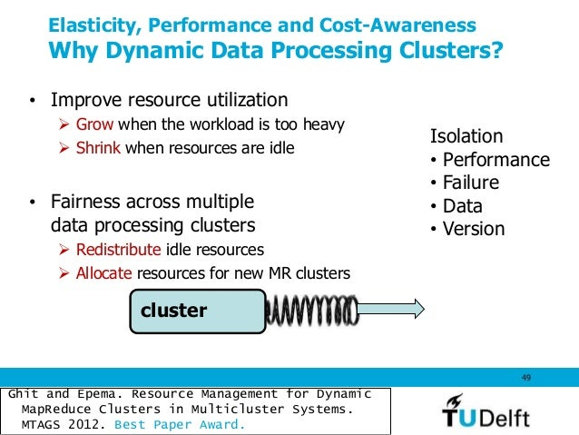 Elasticity, Performance and Cost-Awareness Why Dynamic Data Processing Clusters? • Improve resource utilization  Grow whe...