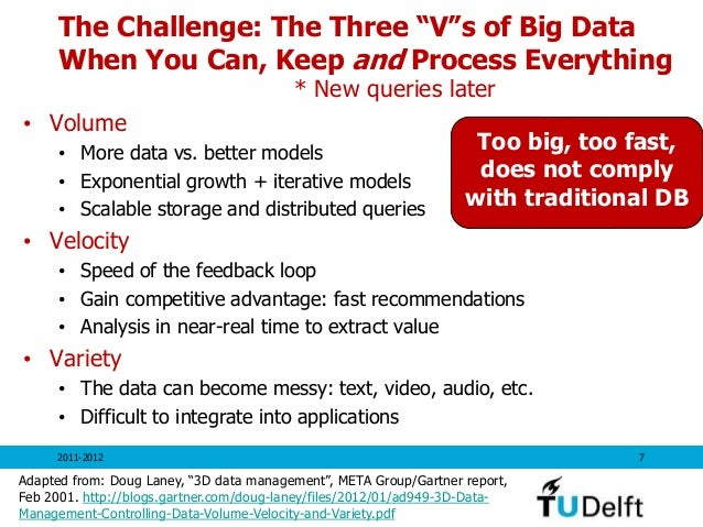 """The Challenge: The Three """"V""""s of Big Data When You Can, Keep and Process Everything • Volume • More data vs. better models..."""