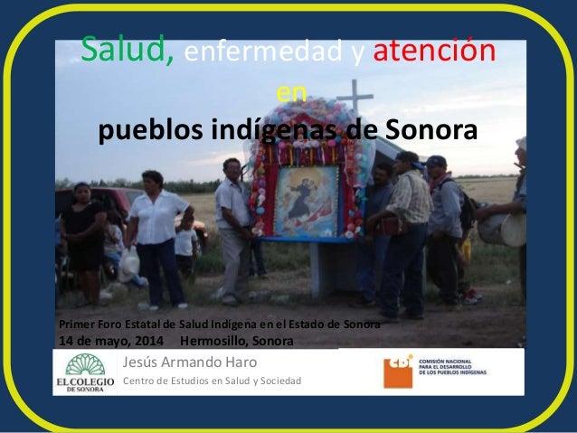 Salud, enfermedad y atención en pueblos indígenas de Sonora Primer Foro Estatal de Salud Indígena en el Estado de Sonora 1...