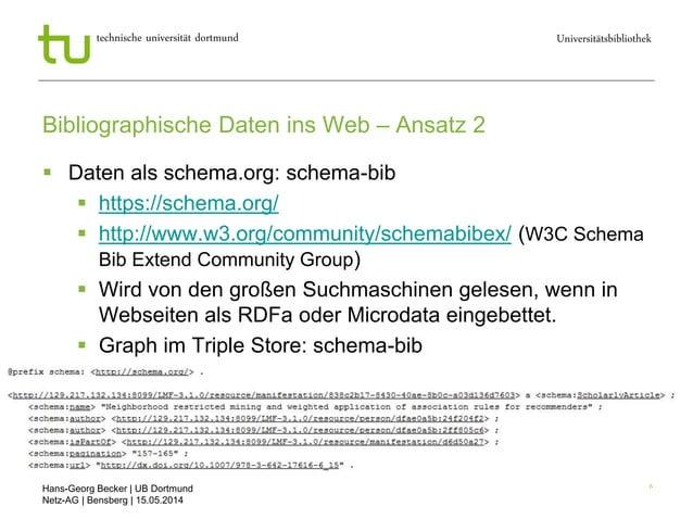 Hans-Georg Becker   UB Dortmund Netz-AG   Bensberg   15.05.2014 Universitätsbibliothektechnische universität dortmund 6 Bi...