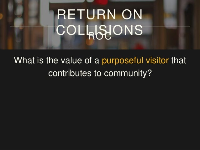 What is the value of a purposeful visitor that contributes to community? 12 hours/day RETURN ON COLLISIONSROC