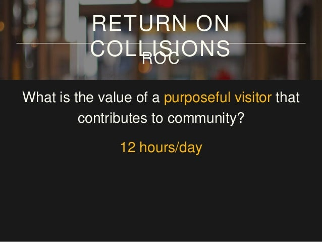 What is the value of a purposeful visitor that contributes to community? 12 hours/day x 7 days/week RETURN ON COLLISIONSROC
