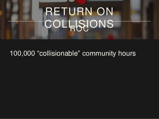 "100,000 ""collisionable"" community hours per RETURN ON COLLISIONSROC"