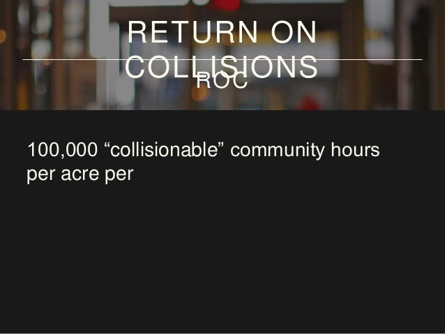 """100,000 """"collisionable"""" community hours per acre per year RETURN ON COLLISIONSROC"""