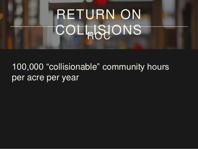"100,000 ""collisionable"" community hours per acre per year RETURN ON COLLISIONSROC 2.3 COLLISIONABLE HOURS PER SQUARE FOOT"