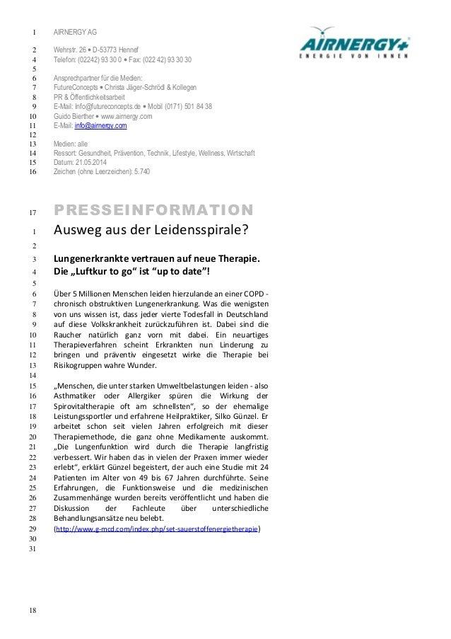 AIRNERGY AG  Wehrstr. 26 · D-53773 Hennef  Telefon: (02242) 93 30 0 · Fax: (022 42) 93 30 30  Ansprechpartner für die Medi...