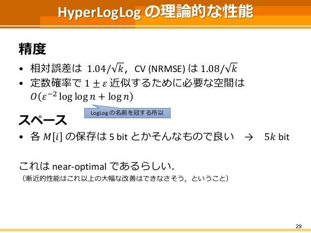 HyperLogLog の理論的な性能 精度 • 相対誤差は 1.04/ 𝑘,CV (NRMSE) は 1.08/ 𝑘 • 定数確率で 1 ± 𝜀 近似するために必要な空間は 𝑂 𝜀−2 log log 𝑛 + log 𝑛 スペース • 各 𝑀...