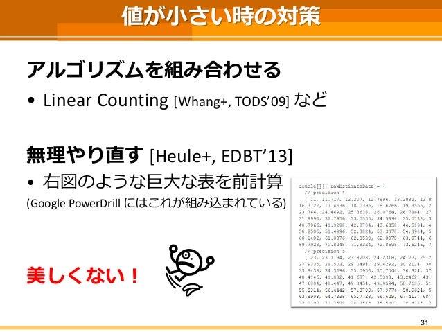 値が小さい時の対策 アルゴリズムを組み合わせる • Linear Counting [Whang+, TODS'09] など 無理やり直す [Heule+, EDBT'13] • 右図のような巨大な表を前計算 (Google PowerDril...