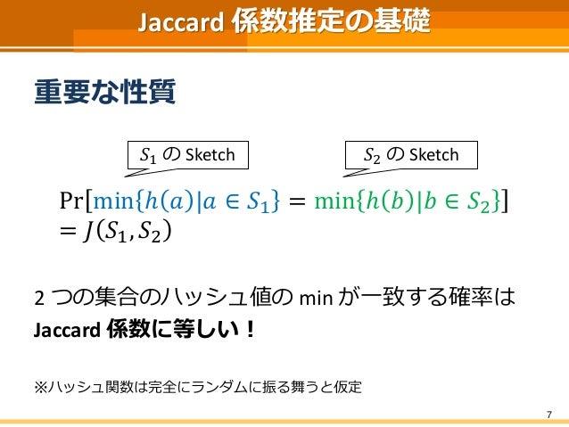 Jaccard 係数推定の基礎 重要な性質 Pr min ℎ 𝑎 |𝑎 ∈ 𝑆1 = min ℎ 𝑏 |𝑏 ∈ 𝑆2 = 𝐽 𝑆1, 𝑆2 2 つの集合のハッシュ値の min が一致する確率は Jaccard 係数に等しい! ※ハッシュ関数は完...