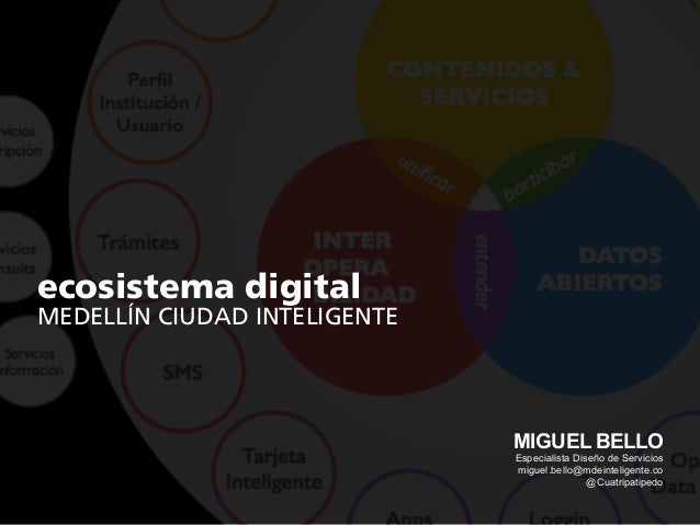 ecosistema digital MEDELLÍN CIUDAD INTELIGENTE MIGUEL BELLO Especialista Diseño de Servicios miguel.bello@mdeinteligente.c...