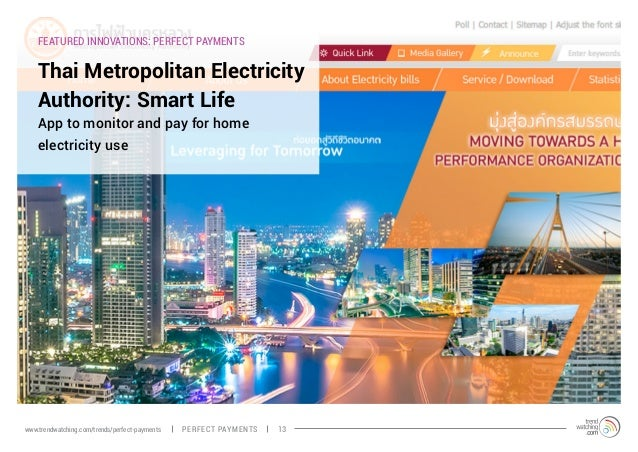FEATURED INNOVATIONS: PERFECT PAYMENTS Thai Metropolitan Electricity Authority: Smart Life App to monitor and pay for home...