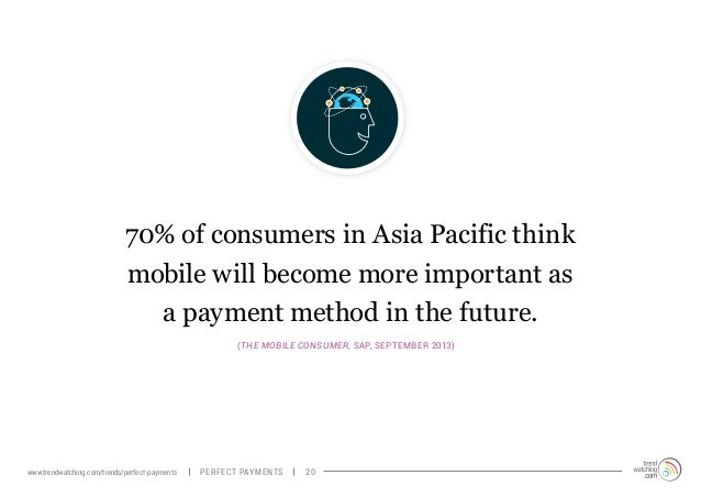 70% of consumers in Asia Pacific think mobile will become more important as a payment method in the future. (The Mobile Co...